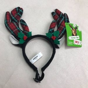 Reindeer Headband Dog Pet Christmas Holiday Plaid